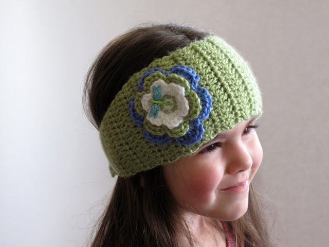 Dragonfly Inspired Crochet Ear Warmer Headband