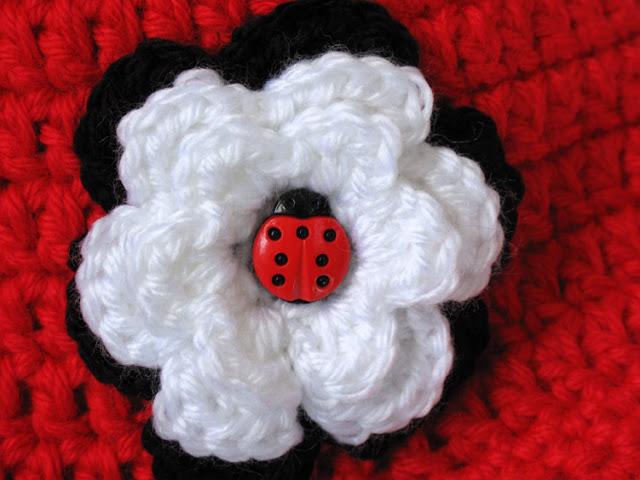 Crochet Ladybug Newsboy Cap Detail