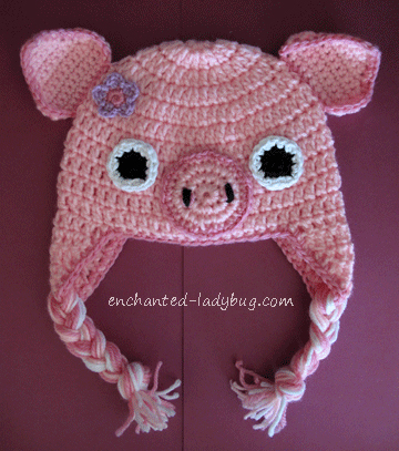 Free Crochet Pig Ear Flap Hat Pattern