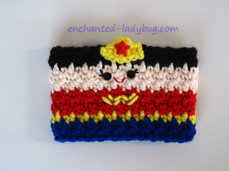 Free Crochet Wonder Woman Coffee Cup Cozy Pattern
