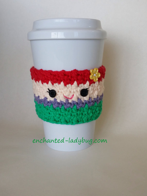 Free Crochet Ariel Coffee Cup Cozy Pattern