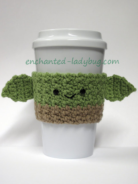 Free Crochet Yoda Coffee Cup Cozy Pattern