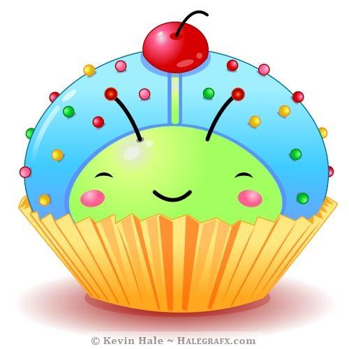 Kawaii blue ladybug cupcake