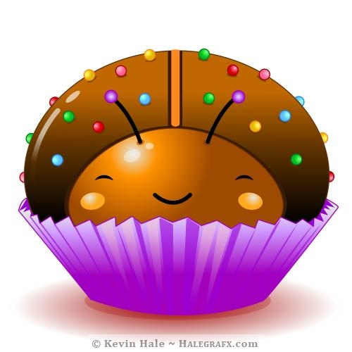 Kawaii chocolate ladybug cupcake
