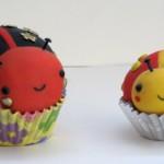 Kawaii Polymer Clay ladybug cupcakes