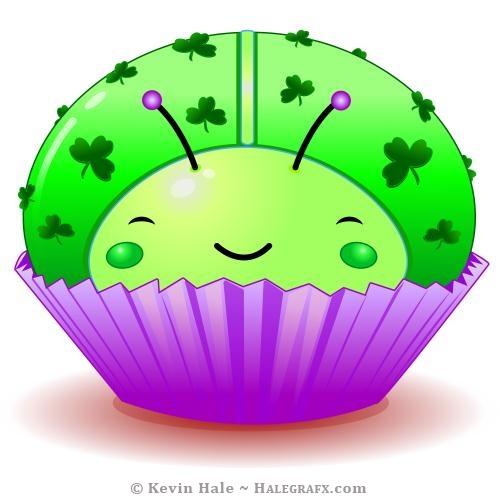 Kawaii St. Patrick's day ladybug cupcake