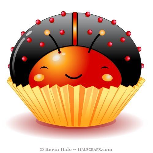 Kawaii black ladybug cupcake