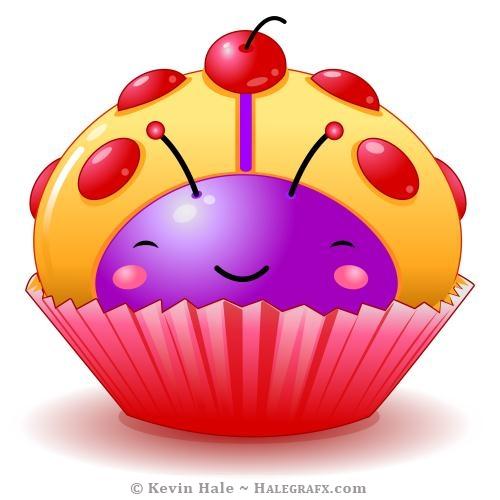 Kawaii ladybug cupcake Cherry candy spots