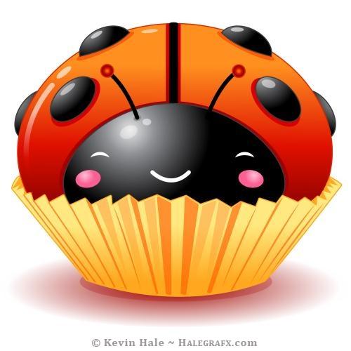 Kawaii ladybug cupcake large candy spots