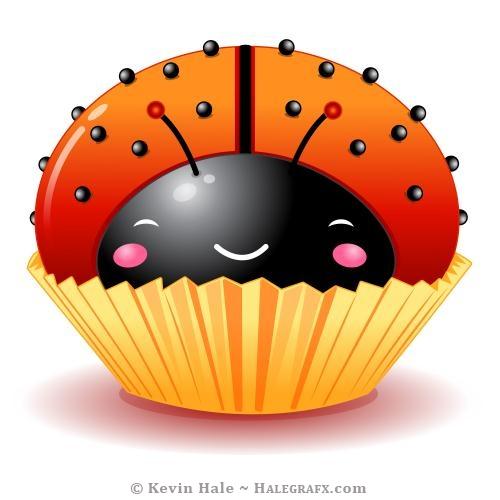 Kawaii ladybug cupcake small sprinkles