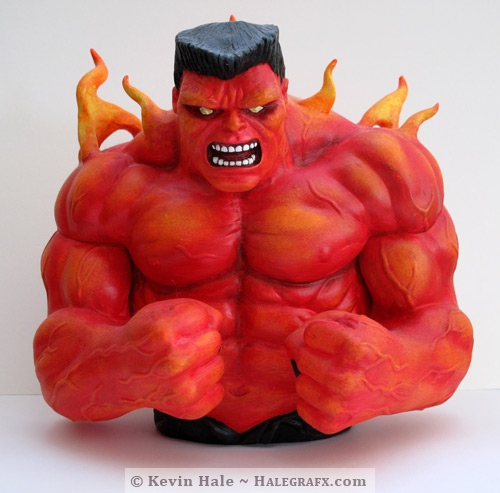 Finished product custom Red hulk statue