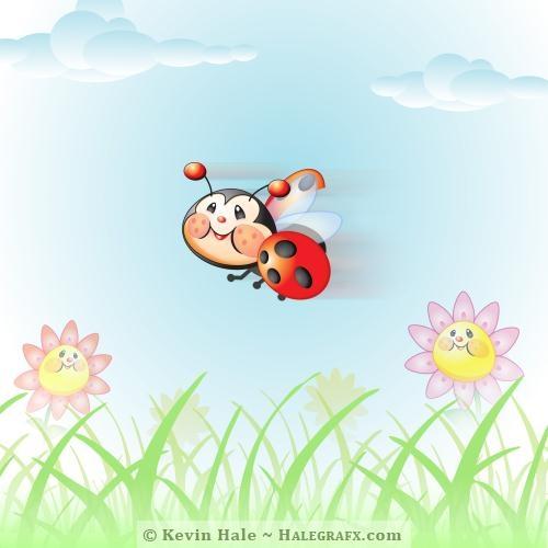 Libby the ladybug flying around