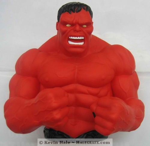 Red Hulk bank statue before modification