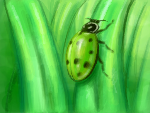 Green convergent ladybug drawn on Nintendo DS Colors