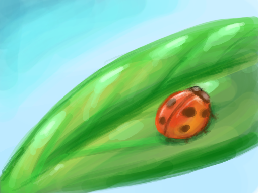 Little ladybug on a leaf drawn on Nintendo DS