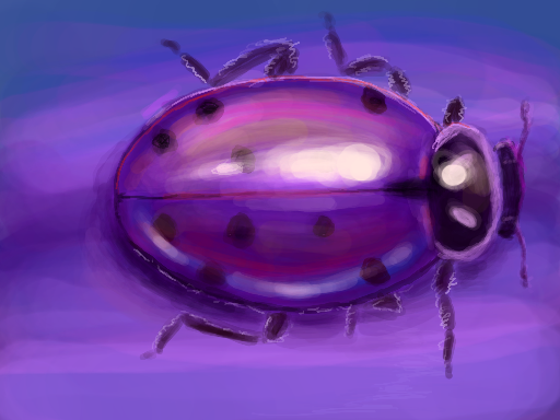 Purple and blue convergent ladybug drawn on Nintendo DS