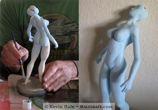 Sailor Midna Statue WIP - Acrylic Paint