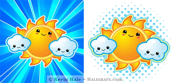 kawaii sun and clouds illustration for zazzle products