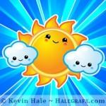 Kawaii Sun and Clouds Illustration