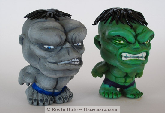 Green and Gray Hulk Color Blanks figures