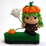 Halloween Pumpkin Girl Color Blanks Figure