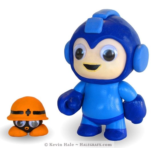 Megaman and met custom vinyl figure