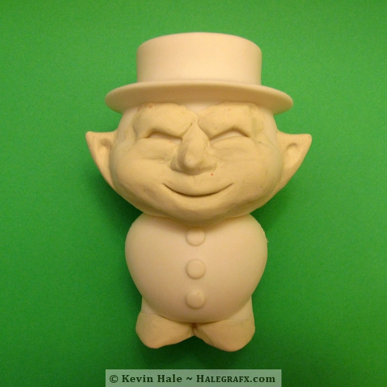 Sculpting the face and ears of the leprechaun Color Blanks figure