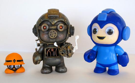 Steampunk Megaman and 8 bit Megaman Custom Vinyl Figures