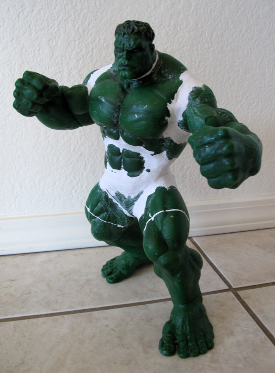 """2003 13"""" Hulk Figure used for Super Shredder using air dry clay for various joints"""