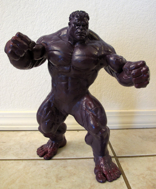 "2003 13"" Hulk Figure used for Super Shredder coated with purple spray paint."