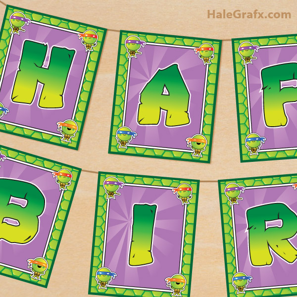 FREE Printable TMNT Ninja Turtle Birthday Banner