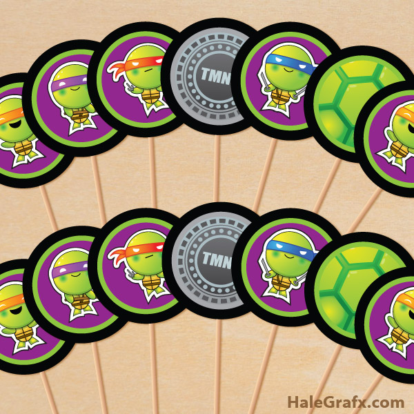 photo regarding Free Printable Ninja Turtle Pictures identify Cost-free Printable TMNT Ninja Turtle Cupcake Toppers