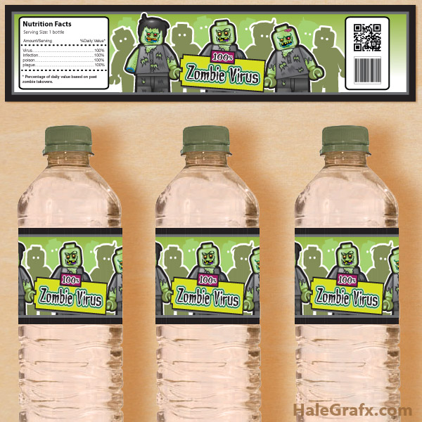 FREE LEGO Zombie Water Bottle Labels - Printable
