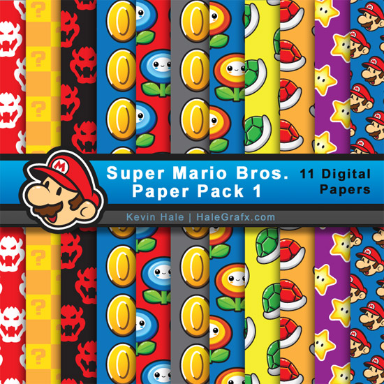 Super Mario Brothers Digital Paper Pack for Parties and Digital Scrapbooking