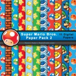FREE Super Mario Bros Digital Paper Pack 2