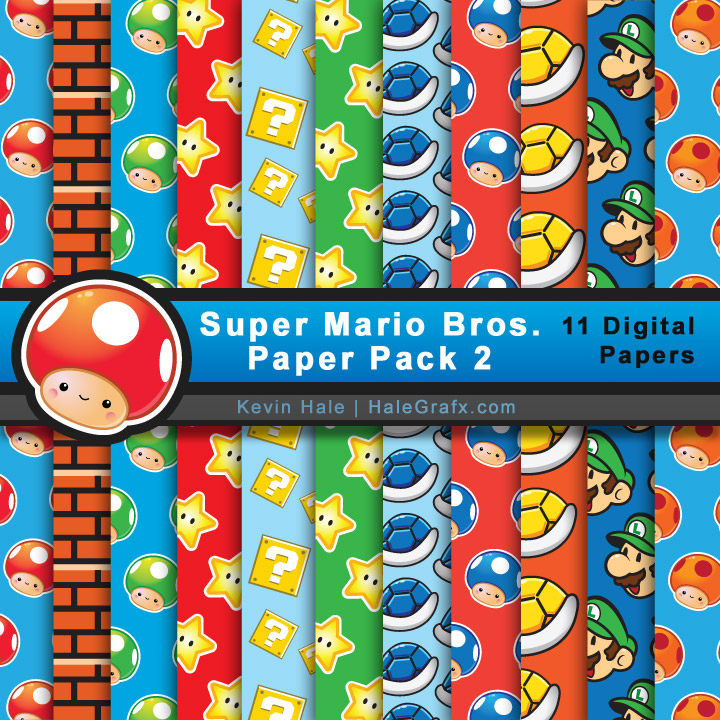 Super Mario Brothers Digital Paper Pack 2 for Parties and Digital Scrapbooking