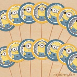 Free printable minion cupcake toppers