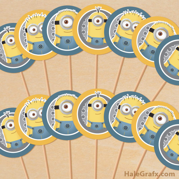 graphic about Minion Printable identify Totally free Printable Despicable Me Minions Cupcake Toppers