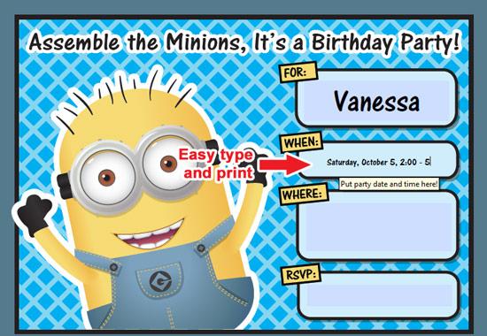 Free Printable Despicable Me Minion Birthday Invitation Making Invitations Online