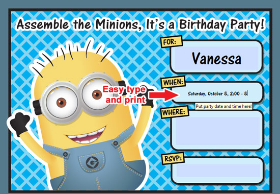 picture about Minions Printable Invitations named Totally free Printable Despicable Me Minion Birthday Invitation