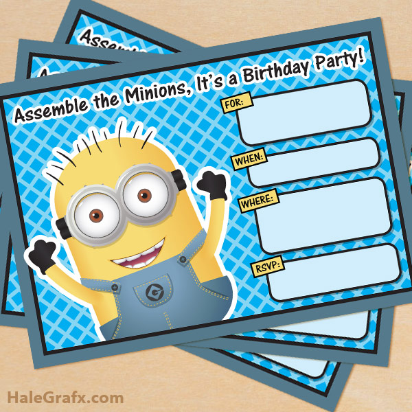 image about Free Printable Minions Birthday Card titled No cost Printable Despicable Me Minion Birthday Invitation
