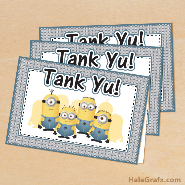 FREE Printable Despicable Me Minions Thank You Cards