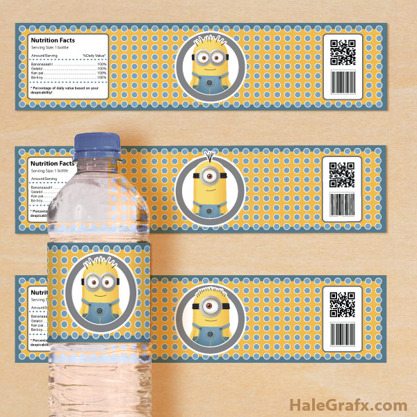 FREE Printable Despicable Me Minions Water Bottle Labels