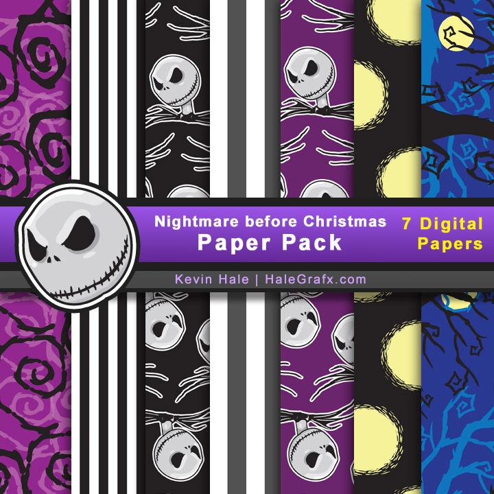 nightmare before christmas digital paper pack