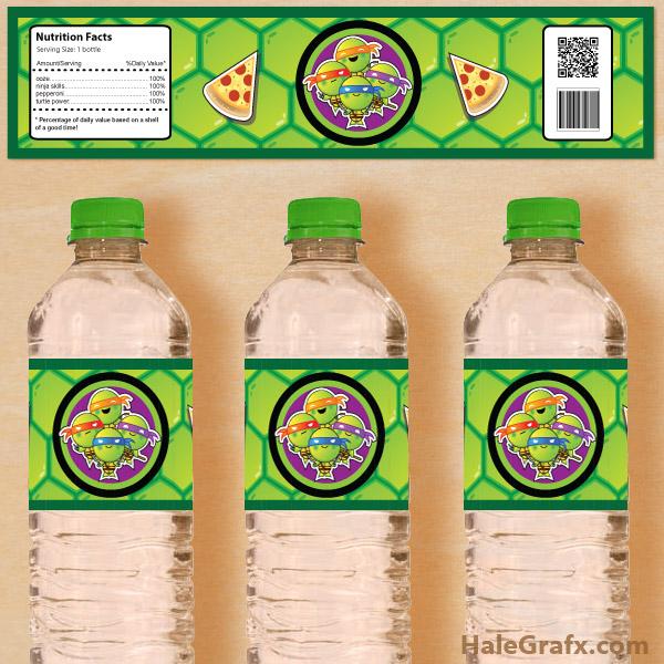 free printable retro tmnt ninja turtle water bottle labels, Birthday invitations