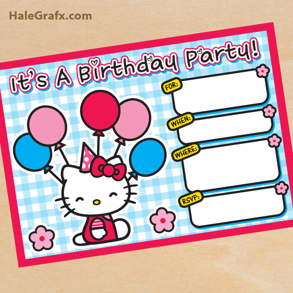 FREE Printable Hello Kitty Birthday Invitation