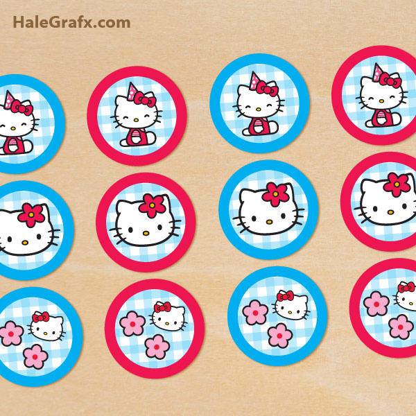 Free printable hello kitty cupcake toppers for Hello kitty cupcake topper template
