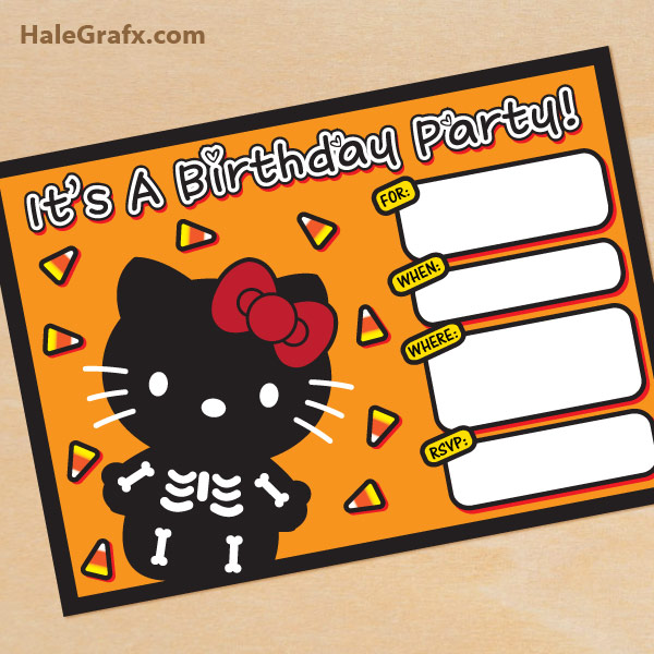 FREE Printable Halloween Hello Kitty invitation Set