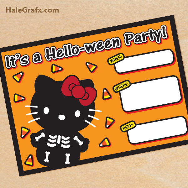 picture about Printable Halloween Birthday Invitations identify No cost Printable Halloween Howdy Kitty invitation Established