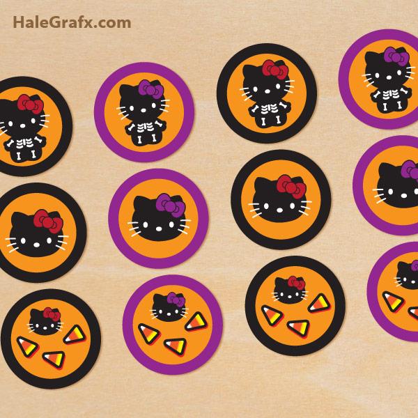 Printable Halloween Hello Kitty Cupcake Toppers